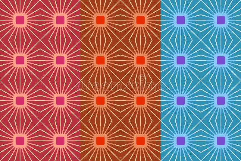 Sömlös modell för vektor med ljusa fyrkanter och linjer Retro abstrakt geometrisk prydnad för textilen, tryck, tapet som slår in royaltyfri illustrationer
