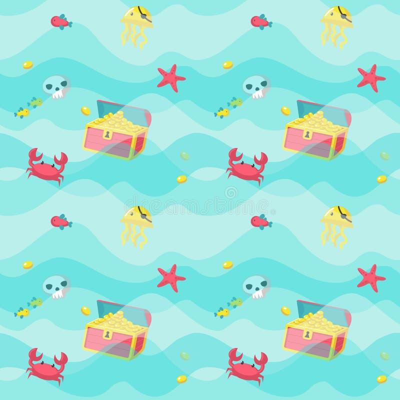 Sömlös modell för vektor med marin- djur och att piratkopiera tillbehör royaltyfri illustrationer