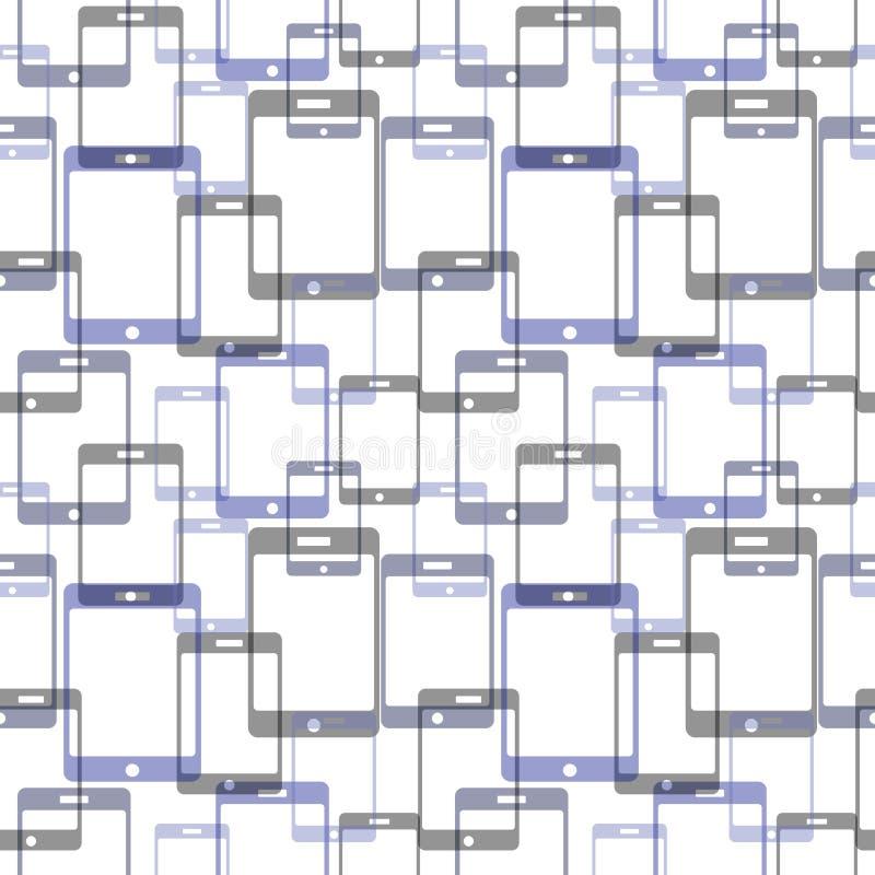 Sömlös modell för vektor med mobiltelefoner Serie av teknologibakgrunder royaltyfri illustrationer