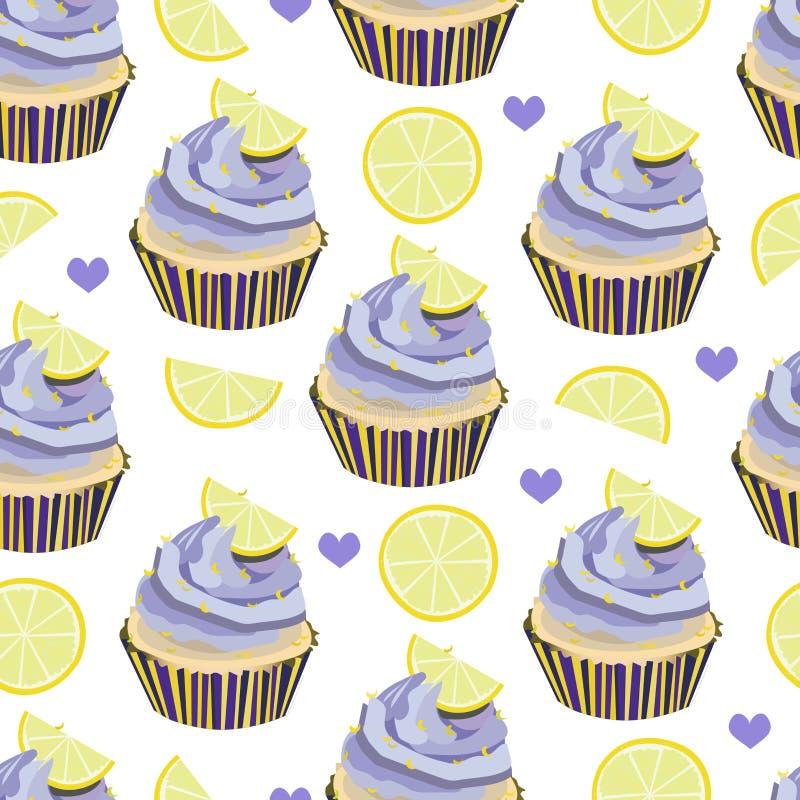 Sömlös modell för vektor med muffin, kakor, muffin Efterrätter med lavanderkräm- och citronskivor, stycken Bageritryck Violett stock illustrationer