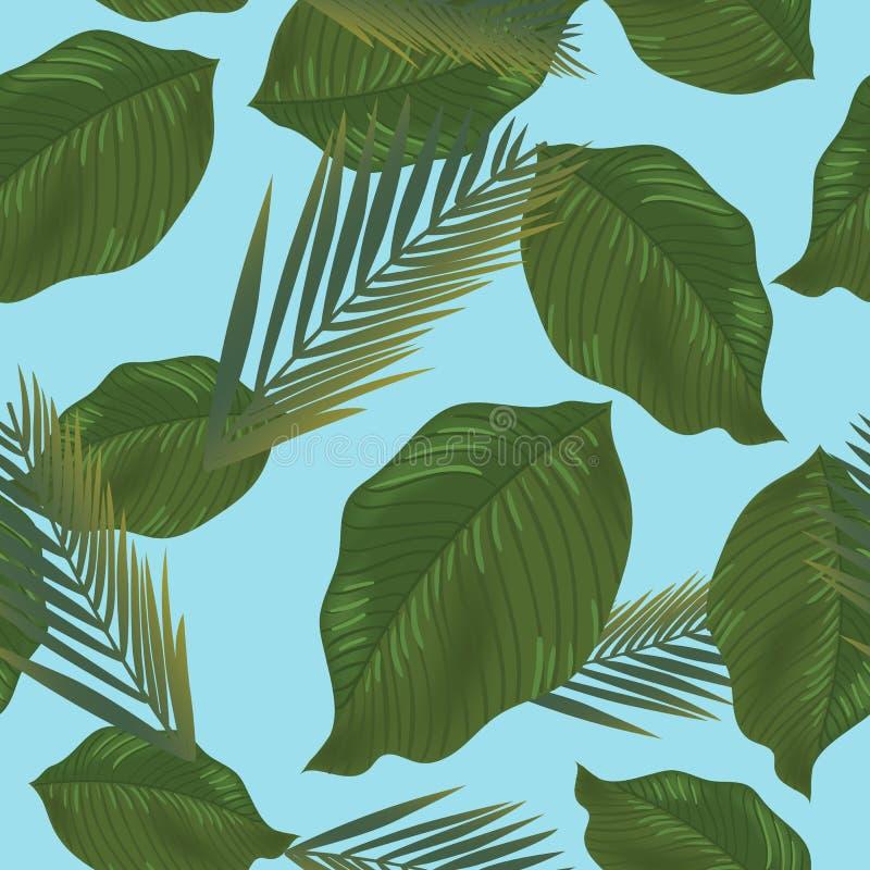 Sömlös modell för vektor med och tropiska sidor Exotisk botanisk bakgrundsdesign för skönhetsmedel, brunnsort, textil stock illustrationer