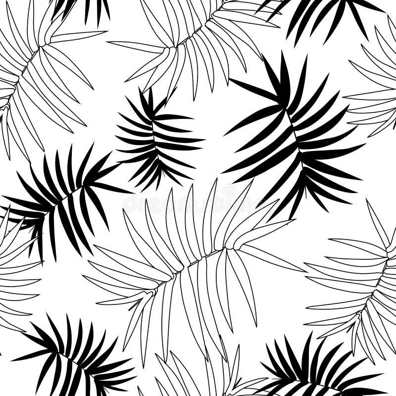 Sömlös modell för vektor med och tropiska sidor Exotisk botanisk bakgrundsdesign för skönhetsmedel, brunnsort, textil royaltyfri illustrationer