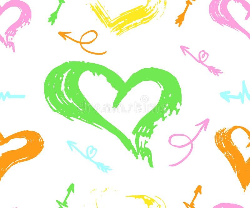 Sömlös modell för vektor med olika pilar, hjärta som är färgrik på vit Dragen handborste vektor royaltyfri illustrationer