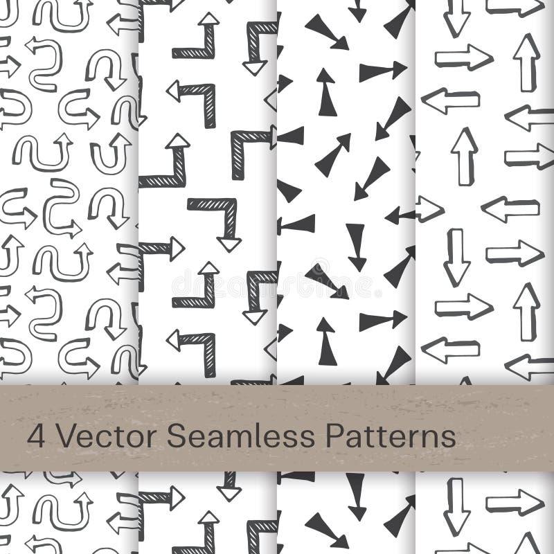 Sömlös modell för vektor med pilar royaltyfri illustrationer