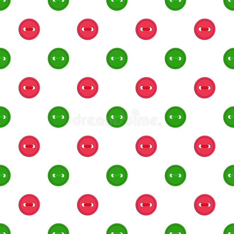 Sömlös modell för vektor med röda knappar för grön abd på vit bakgrund För tematisk inbjudan restpapper, tapet vektor illustrationer