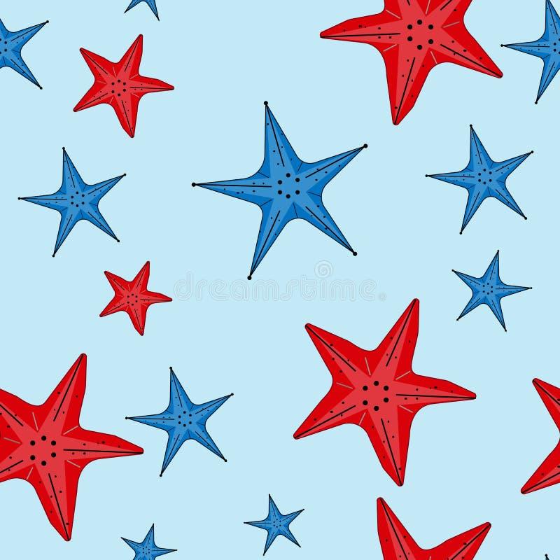 Sömlös modell för vektor med röda och blåa sjöstjärnor stock illustrationer