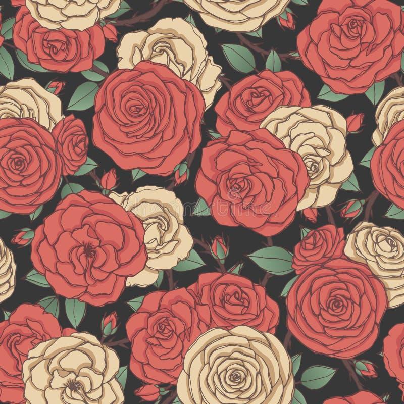 Sömlös modell för vektor med röda och gula rosa blommor och sidor på svart bakgrund Blom- prydnad av blomningar arkivbilder