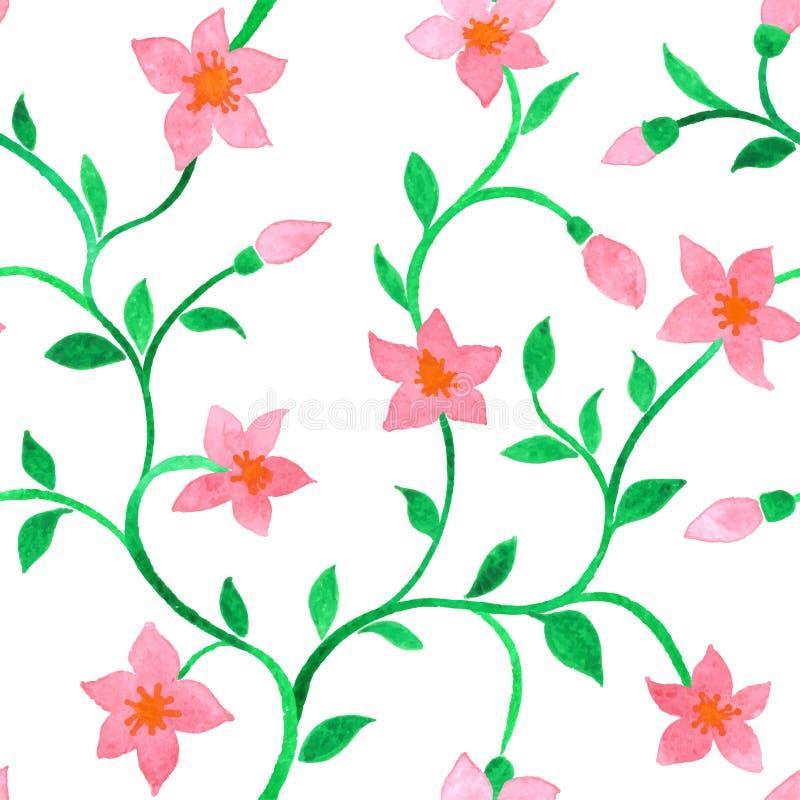 Sömlös modell för vektor med rosa blommor för vattenfärg på en vit bakgrund vektor illustrationer