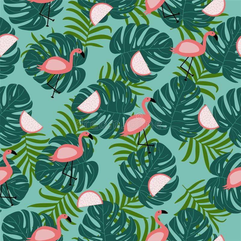 Sömlös modell för vektor med rosa flamingosidor med palmbladet stock illustrationer