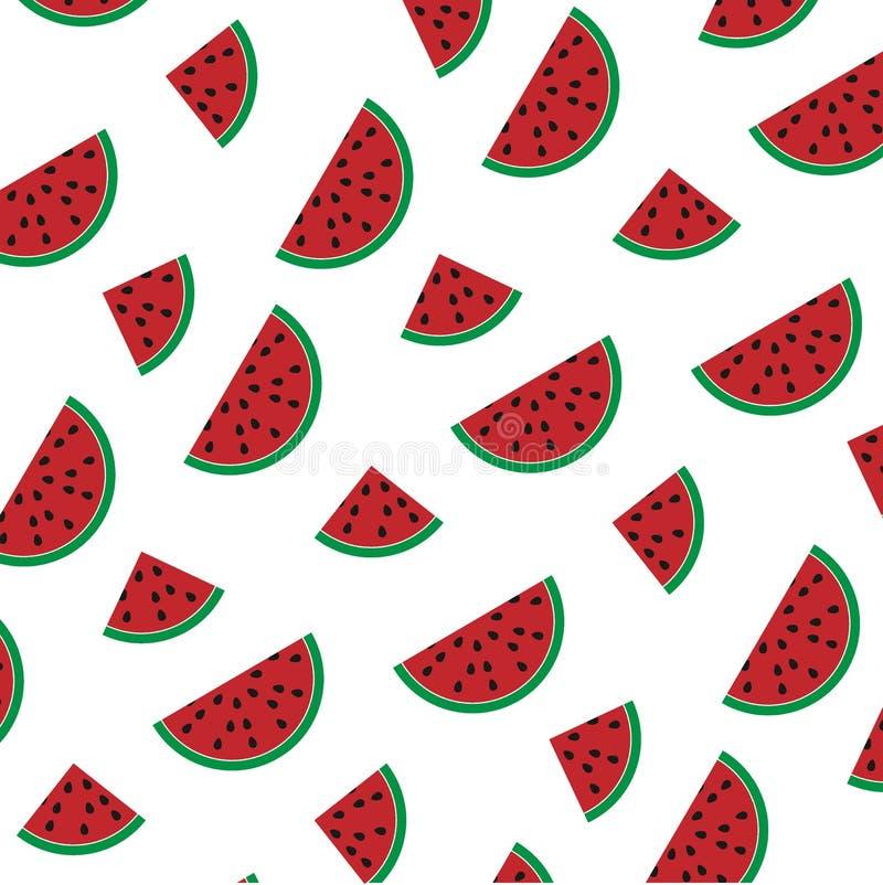Sömlös modell för vektor med saftiga vattenmelonskivor på vit bakgrund stock illustrationer