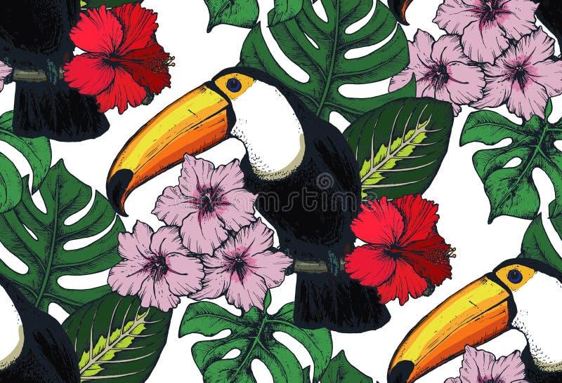 Sömlös modell för vektor med sammansättningar av hand drog tropiska blommor och exotiska fåglar royaltyfri illustrationer