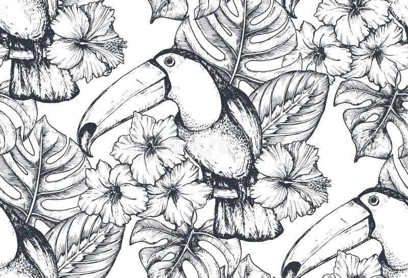 Sömlös modell för vektor med sammansättningar av hand drog tropiska blommor och exotiska fåglar vektor illustrationer