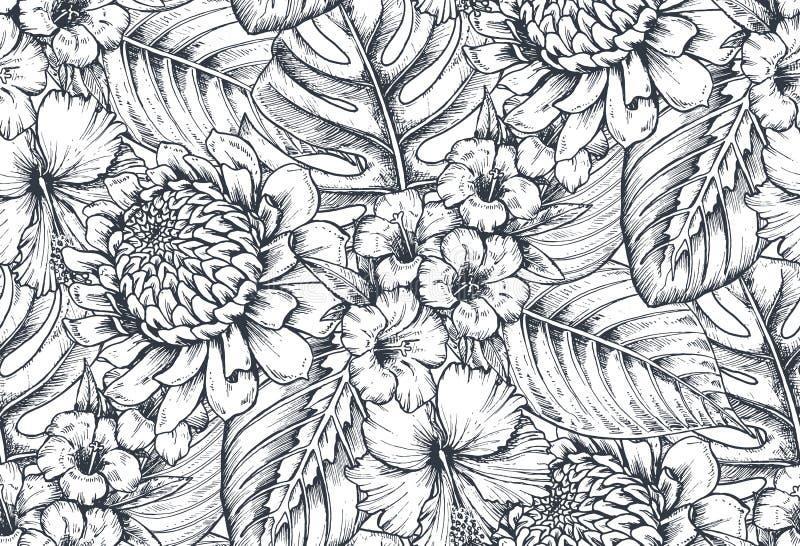Sömlös modell för vektor med sammansättningar av hand drog tropiska blommor och växter stock illustrationer