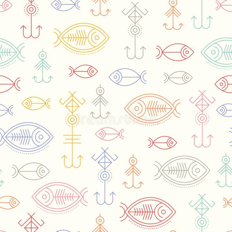 Sömlös modell för vektor med skisserat fiska tecken royaltyfri illustrationer
