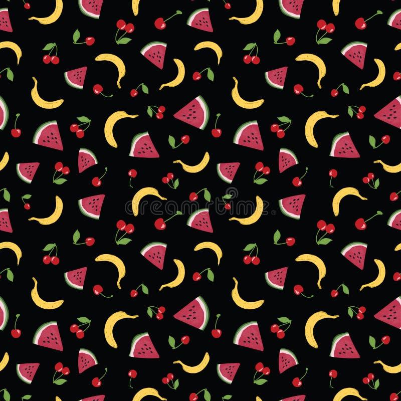 Sömlös modell för vektor med sommarfrukter på svart bakgrund vektor illustrationer