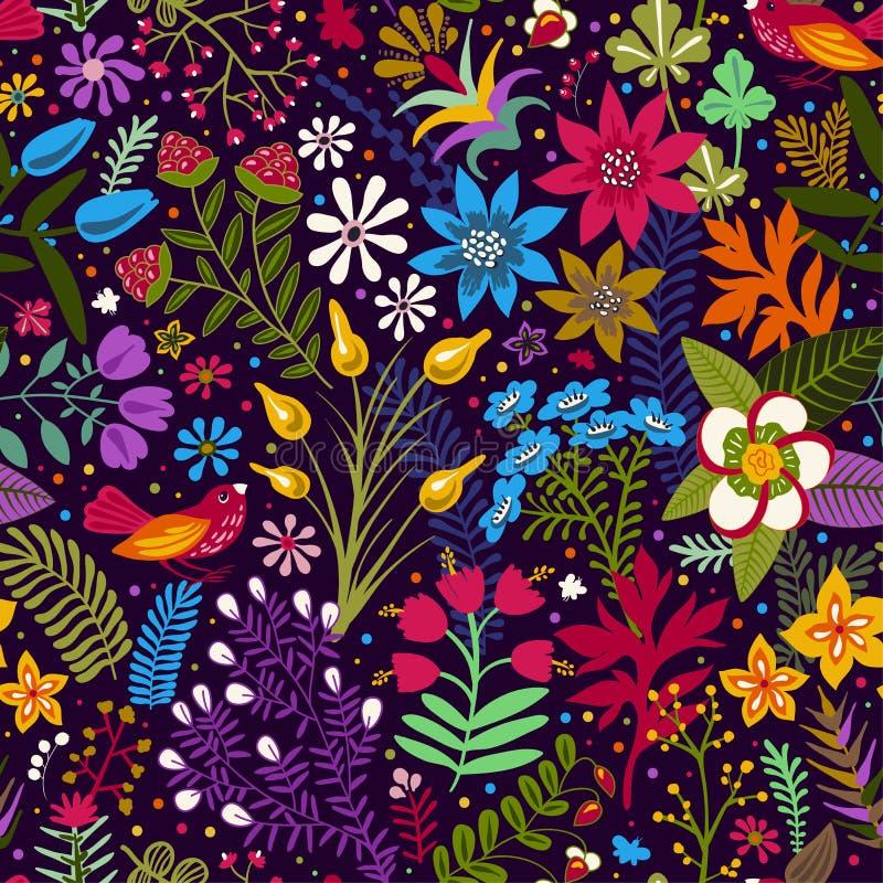 Sömlös modell för vektor med stiliserade blommor och växter Ljus botanisk tapet Många färgrika blommor på mörkret stock illustrationer