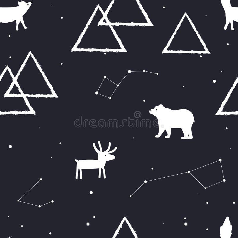 Sömlös modell för vektor med stjärnor, berg och arktiska djur vektor illustrationer