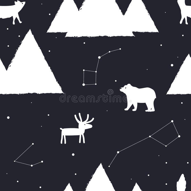 Sömlös modell för vektor med stjärnor, berg och arktiska djur stock illustrationer