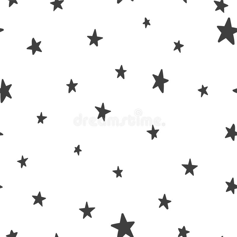 Sömlös modell för vektor med stjärnor på en vit bakgrund royaltyfri illustrationer