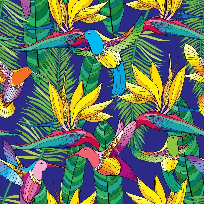 Sömlös modell för vektor med Strelitziareginae och den färgrika flygkolibrin eller Colibri i konturstil på den blåa bakgrunden royaltyfri illustrationer