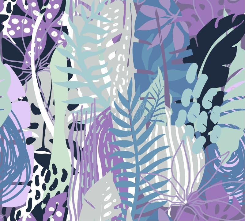 Sömlös modell för vektor med tropiska växter stock illustrationer