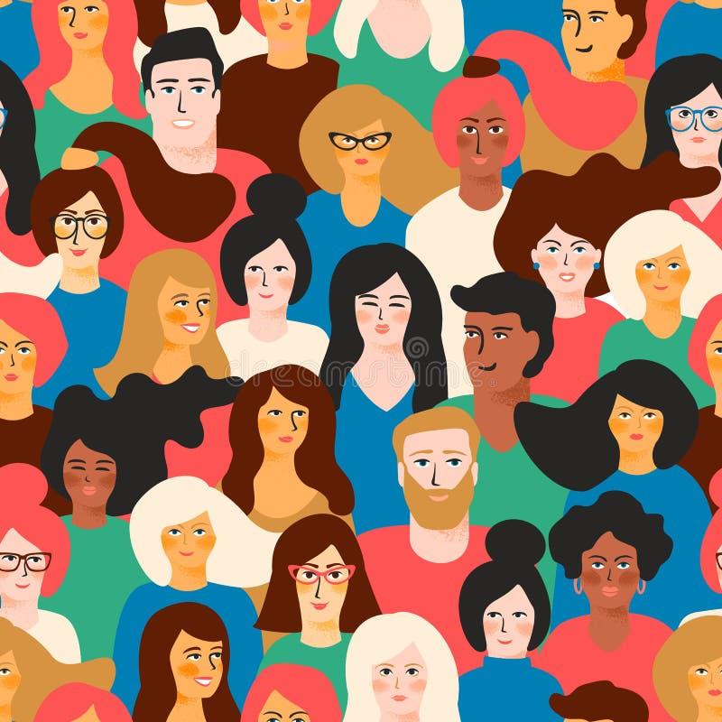Sömlös modell för vektor med unga män och kvinnor med olik hudfärg stock illustrationer