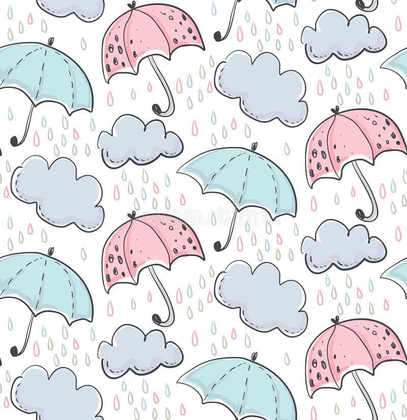 Sömlös modell för vektor med utdragna paraplyer för hand, moln, regndroppar royaltyfri illustrationer