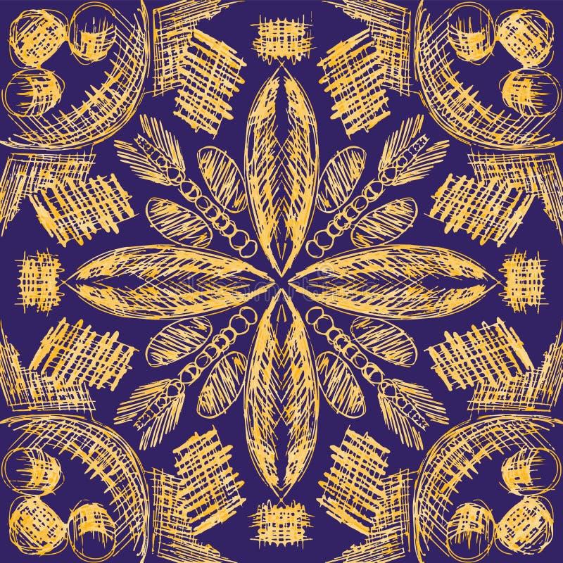 Sömlös modell för vektor med utdragna symmetriska dekorativa stam- beståndsdelar för hand vektor illustrationer
