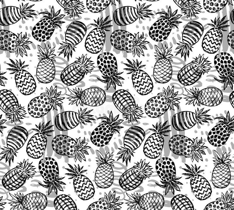 Sömlös modell för vektor med utsmyckade ananasfrukter vektor illustrationer
