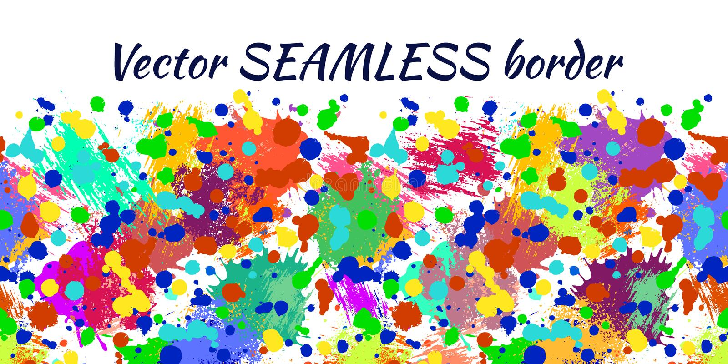 Sömlös modell för vektor med vattenfärgfärgpulverfläckar, färgstänk och borsteslaglängder Horisontalbaner, sömlös gräns royaltyfri illustrationer