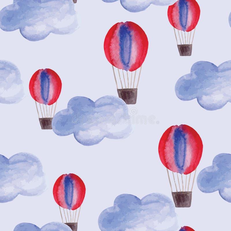 Sömlös modell för vektor med vattenfärgmoln och luftballonger royaltyfri illustrationer