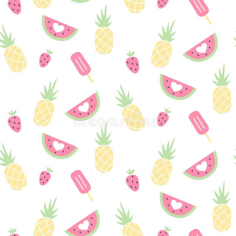 Sömlös modell för vektor med vattenmelon, jordgubben, glass och ananas stock illustrationer
