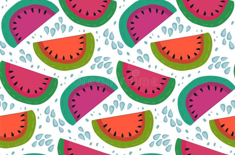 Sömlös modell för vektor med vattenmelonskivor i plan enkel stil vektor illustrationer