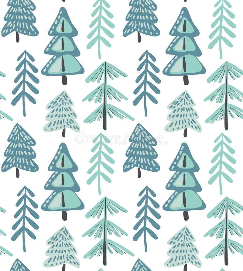 Sömlös modell för vektor med vintergranskogen royaltyfri illustrationer