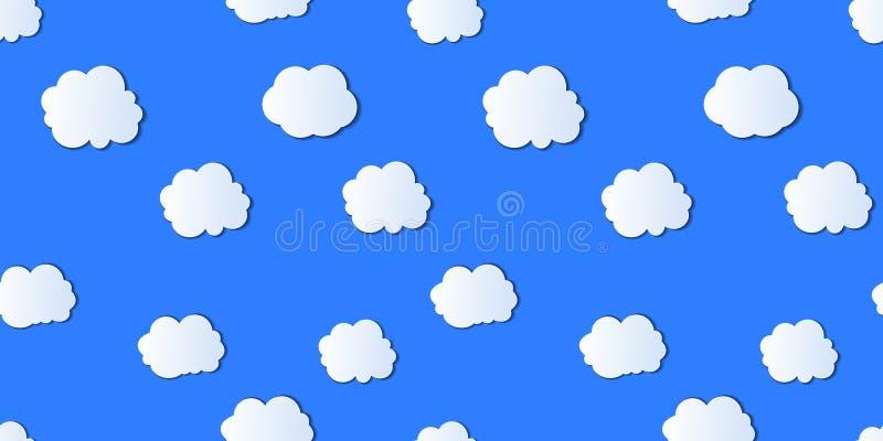 Sömlös modell för vektor, molnig himmel, ljust ljus - blå färg vektor illustrationer