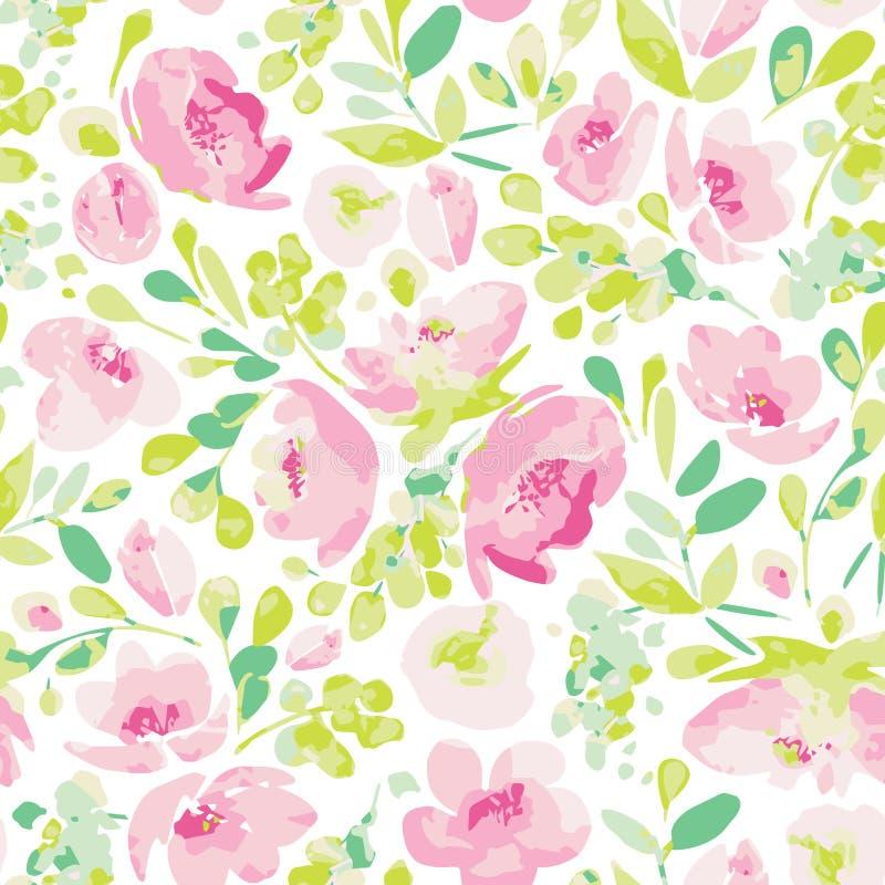 Sömlös modell för vektor och att blomma krämiga rosa blommor och grön lövverk royaltyfri illustrationer