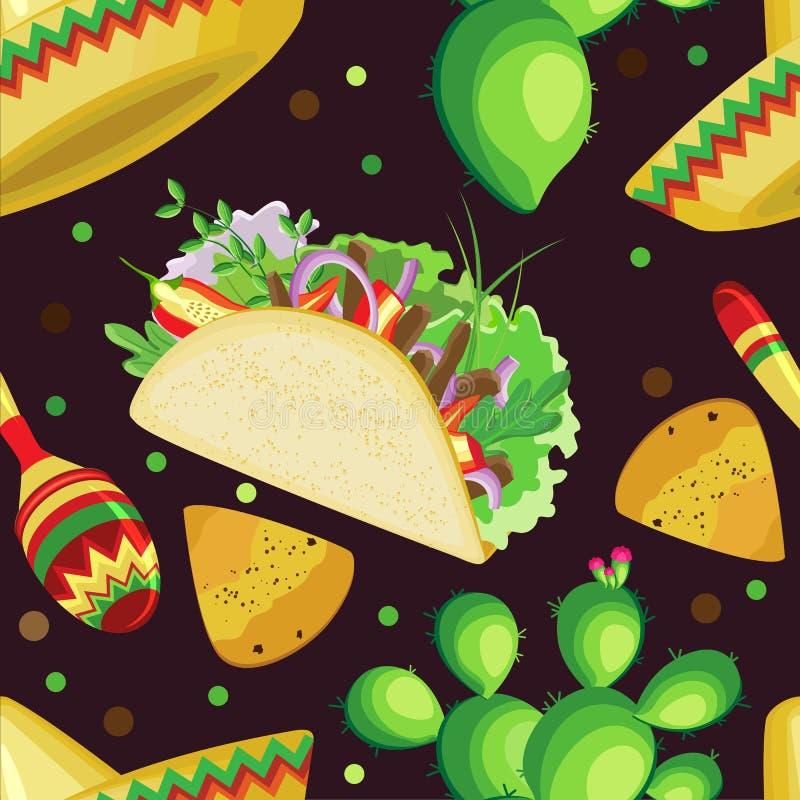 Sömlös modell för vektor på ferien av Cinco de Mayo stock illustrationer