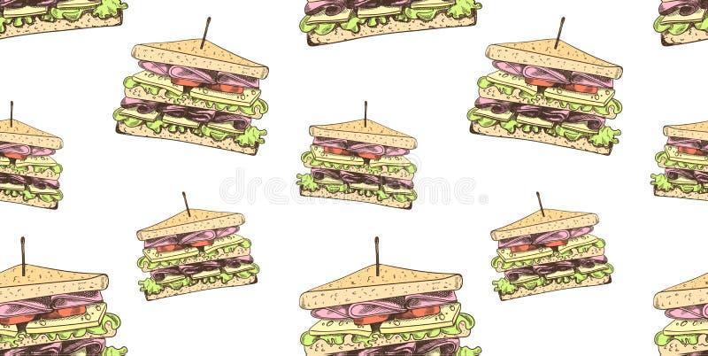 Sömlös modell för vektor, smörgåsbakgrund, färgrik illustrationmall, snabbmat vektor illustrationer