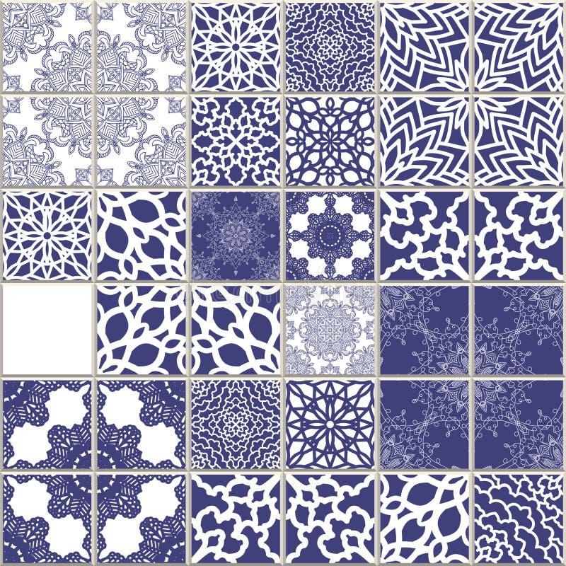 Sömlös modell för vektor som är baserad på traditionell medelhavs- stil för vägg- och golvtegelplattor Mosaisk patchworkdesign Me royaltyfri illustrationer