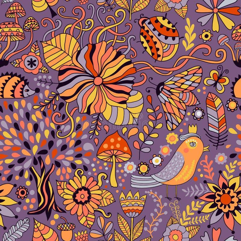 Sömlös modell för vektor som klottrar blom- design Räcka attraktionträd och blad över staden Säsong av regnet, illustration, gull stock illustrationer