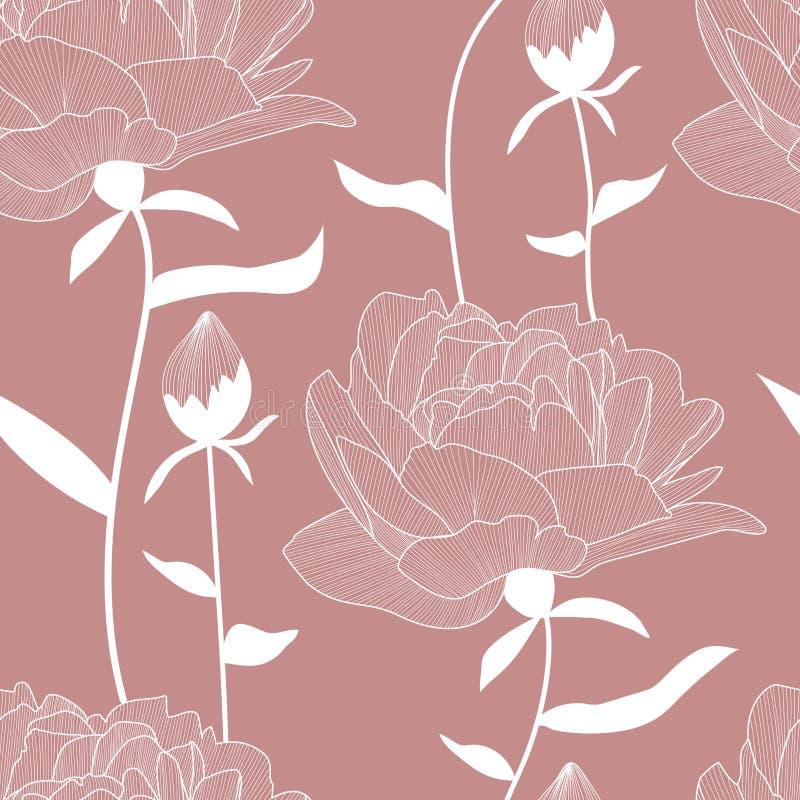 Sömlös modell för vektor, tryck med vita konturer, utdragna pions för hand, blommor och knoppar, sidor Elegant romantisk blom- te vektor illustrationer