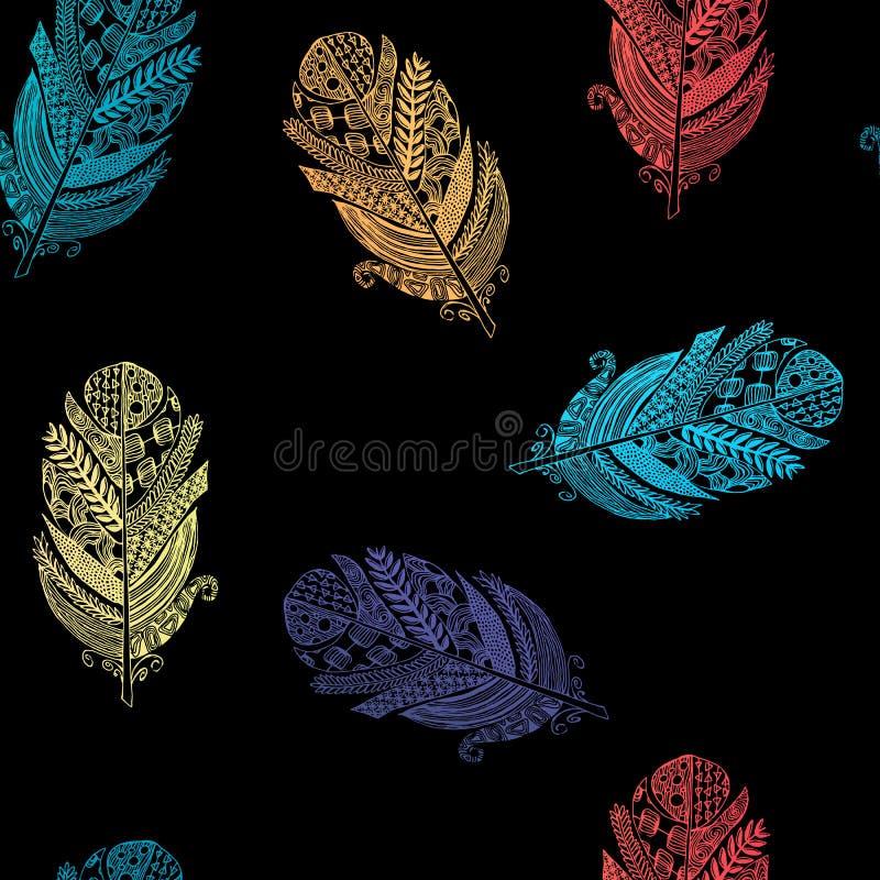 Sömlös modell för vektordiagram från konturfågelfjädrar stock illustrationer