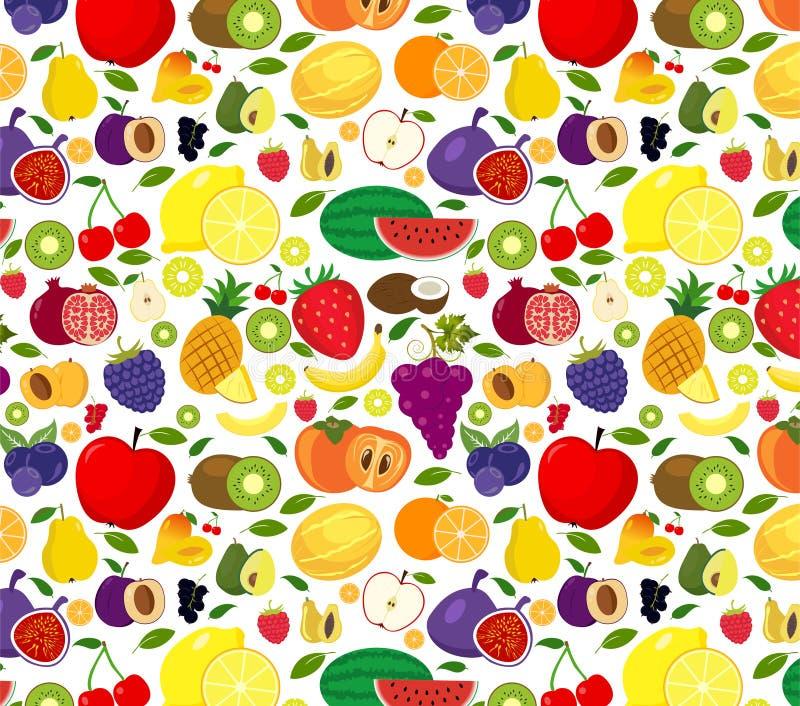 Sömlös modell för för vektorfrukter och grönsaker vektor illustrationer