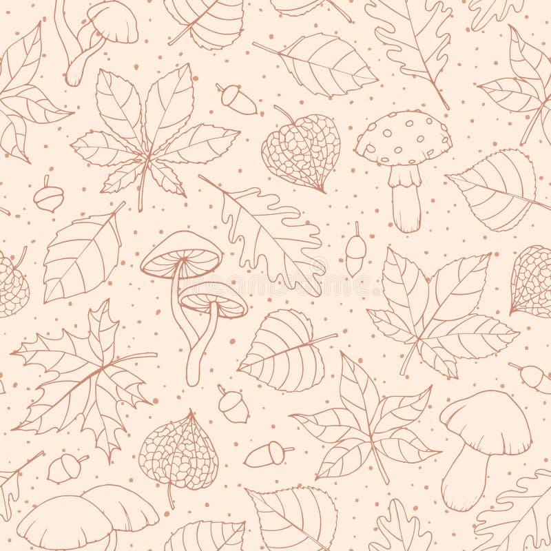 Sömlös modell för vektorhöst med ek-, poppel-, bokträd-, lönn-, asp- och hästkastanjsidor, champinjoner, ekollonar royaltyfri illustrationer