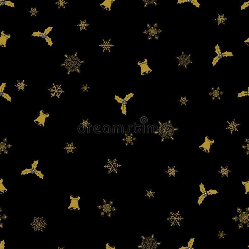 Sömlös modell för vektorjul från guld- snöflingor, klockor och bär på svart bakgrund royaltyfri illustrationer