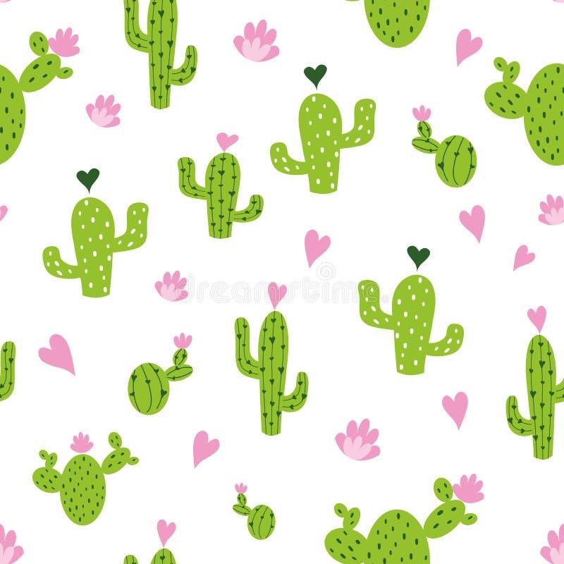 Sömlös modell för vektorkaktus med hjärtor i gräsplan-, rosa färg- och vitfärger Naturlig houseplantbakgrund stock illustrationer