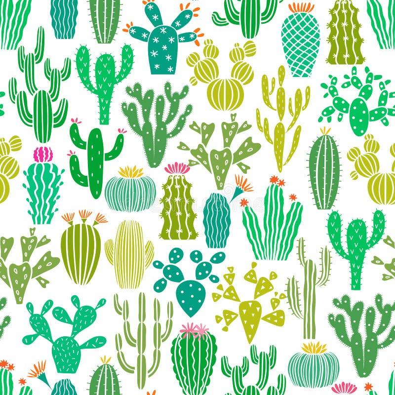 Sömlös modell för vektorkaktusväxt Kaktusblommabakgrund, tryck royaltyfri illustrationer