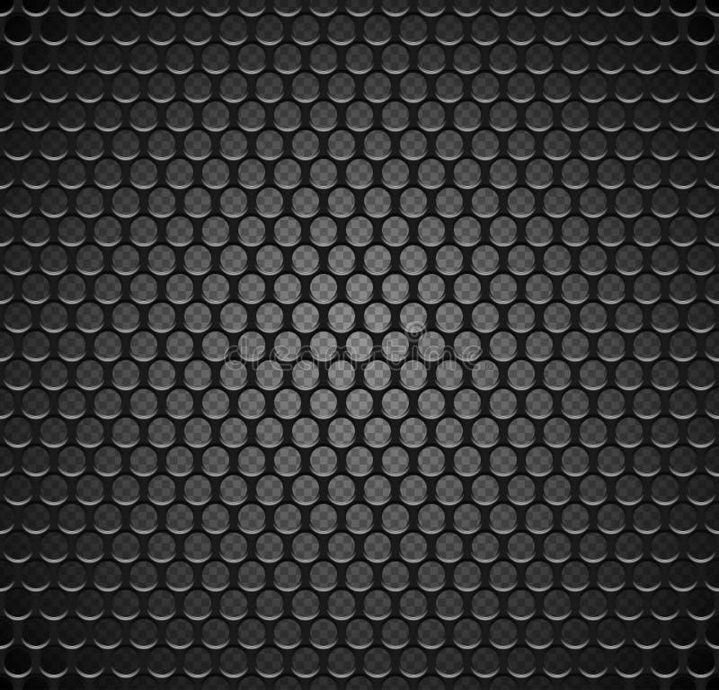 Sömlös modell för vektormetallraster på genomskinlig bakgrund Ändlös textur för svart järnhögtalaregaller Webbsidapåfyllning royaltyfri illustrationer