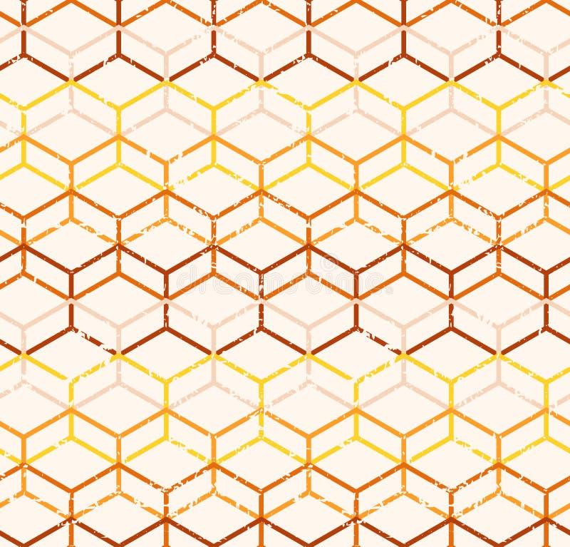 Sömlös modell för vektorpoligonalabstrakt begrepp med grungetextur royaltyfri illustrationer