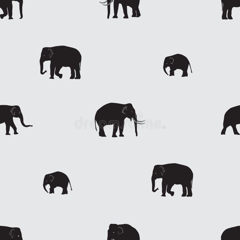 Sömlös modell för vektorskuggaelefanter vektor illustrationer